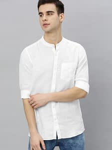 White Slim Fit Solid Linen Casual Shirt by Mast and Harbour